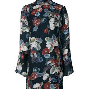 Amanda Uprichard Floral Mock Neck Chiffon Dress L